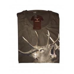 """T-shirt """"Hirsch"""" oliv Kurzarm"""
